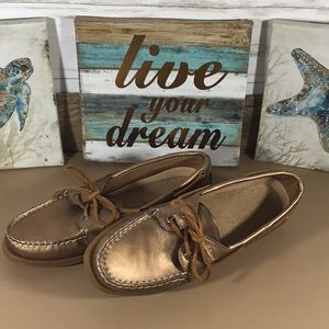 Sperry top-sider gold leather loafers SZ 7.5